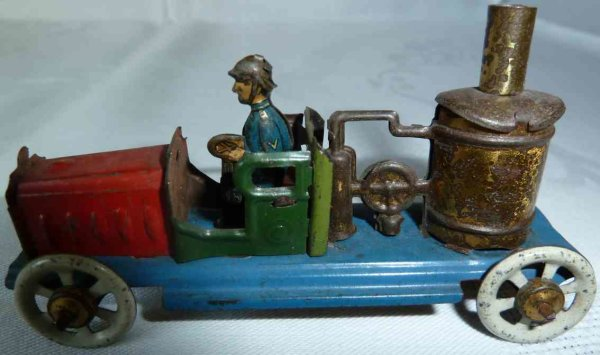 Distler Tin-Penny Toy Fire brigade tank car with firefighter