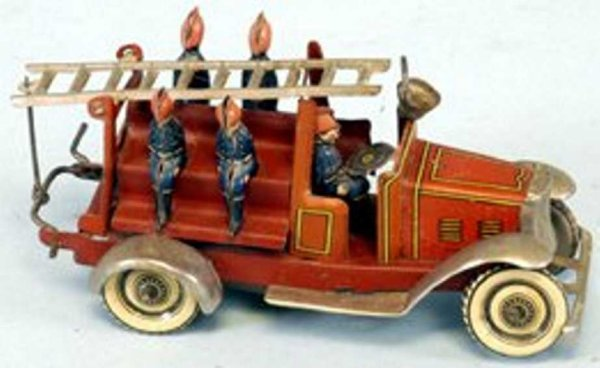 Fischer Georg Tin-Penny Toy Fire ladder truck, made in Germany, elaborate tin lithograph