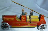 Meier Tin-Penny Toy Fire ladder truck with 3 firefighters