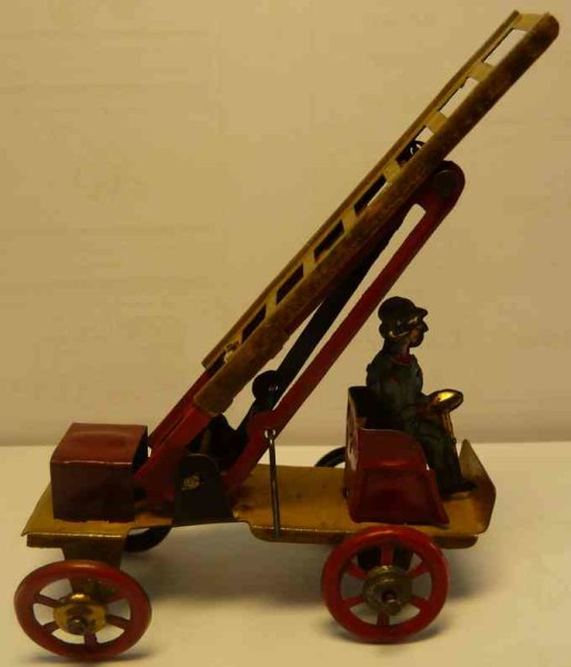 Fischer Georg Tin-Penny Toy Fire ladder car, fire man, rarer version with red and extend