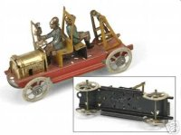 Meier Tin-Penny Toy Fire ladder car features two fireman...