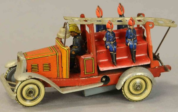 Fischer Georg Tin-Penny Toy Fire engine with five firemen, marked Made in Germany prob