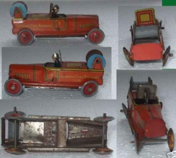 Fischer Georg Tin-Penny Toy Fire Birgade Hose Car, marked GF