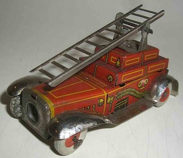 Fischer Georg Tin-Penny Toy Fire engine as a pencil sharpener, marked Made in Germany