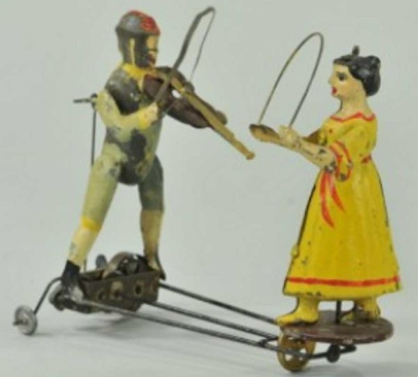 Guenthermann Tin-Figures Fiddler and dancer, hand painted tin, key wind appears under