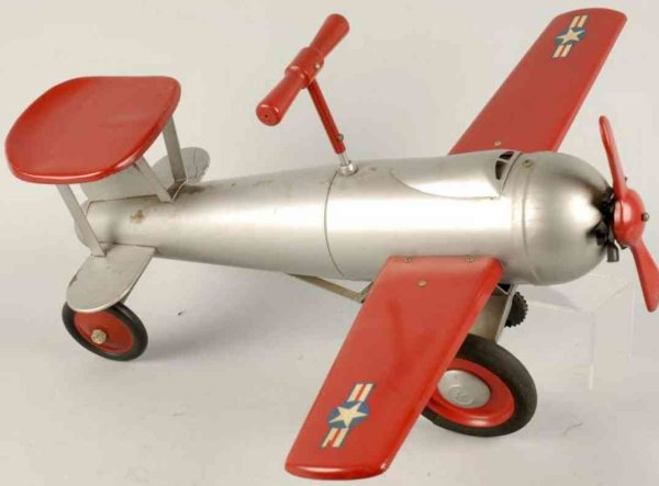 Keystone Tine Ariplanes RideEm fighter plane of painted pressed steel with ride on