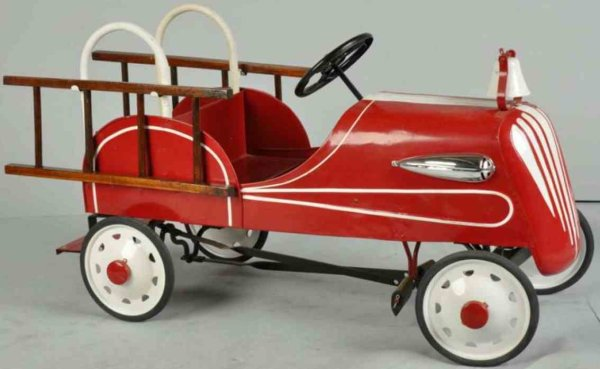 Garton Toy Co Tin-pedal cars Fire pedal car made of pressed steel in red, total older res