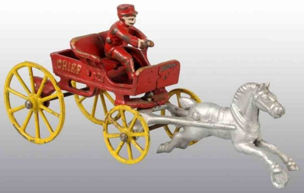 Kenton Hardware Co Cast-Iron-Carriages Horse drawn fire chief toy in red with yellow wheels, silver