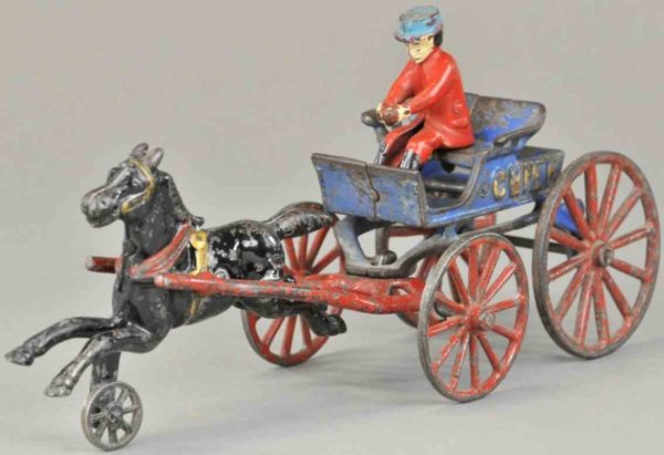 Kenton Hardware Co Cast-Iron-Carriages Fire chief, cast iron, blue open cart, embossed Chief on s