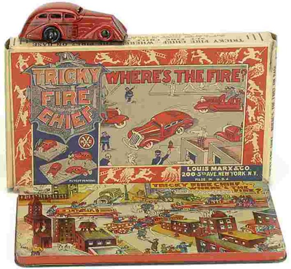Marx Tin-Toys Tricky Fire Chief lithographed tin clockwork, with colorful