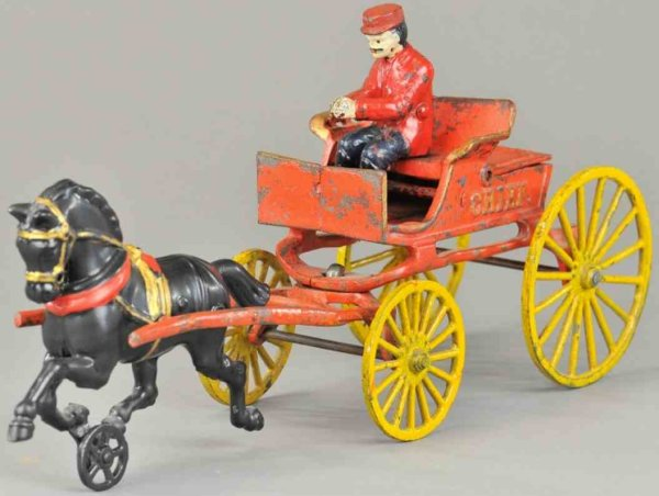 Hubley Cast-Iron-Carriages Fire chief wagon made of cast rion, red painted open wagon,
