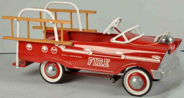 Murray Tin-pedal cars Fire ladder pedal truck deluxe made of pressed steel in red,