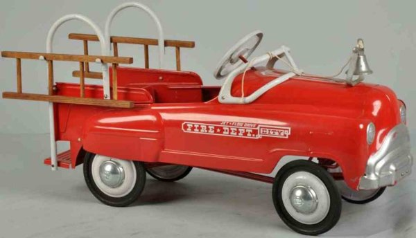 Murray Tin-pedal cars Sad face city fire ladder dept. Pedal truck made of pressed