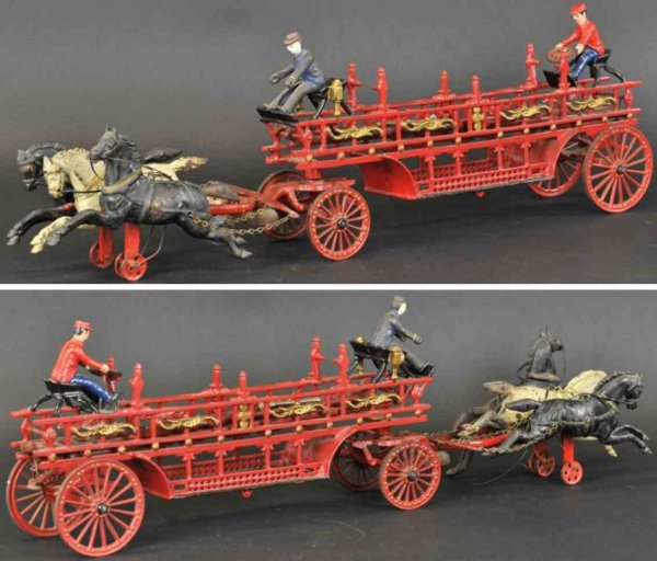 Dent Hardware Co Cast-Iron-Carriages Horse drawn hook and ladder wagon made of cast iron, painted