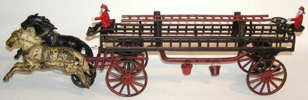 Carpenter Cast-Iron-Carriages Horse drawn fire ladder wagon.  When you move the toy along
