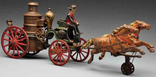 Pratt & Letchworth Cast-Iron-Carriages Cast iron fire pumper horse-drawn toy, working bell clanger,