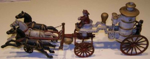 Unique Art Manufacturing Company Cast-Iron-Carriages Horse drawn fire pumper, probably made by Dent