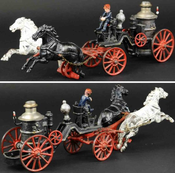 Carpenter Cast-Iron-Carriages Fire pumper made of cast iron, well detailed open frame with