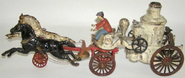 Dent Hardware Co Cast-Iron-Carriages 2 horse drawn cast iron fire pumper with driver and back rid
