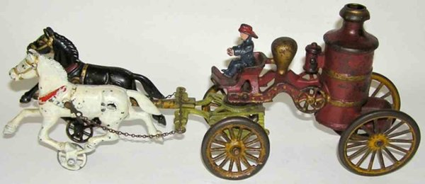 Dent Hardware Co Cast-Iron-Carriages 2-horse fire pumper, steam pumper in red with gold highlight
