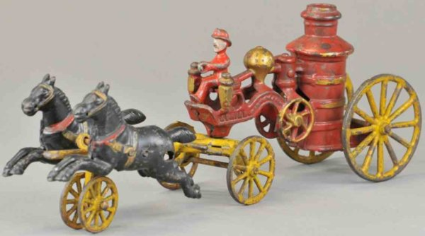Wilkens Cast-Iron-Carriages Horse drawn fire pumper with the two black horses made of ca