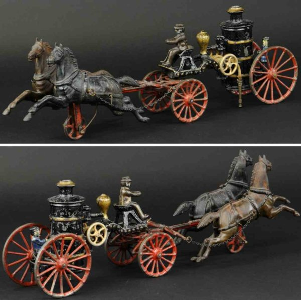 Ives Cast-Iron-Carriages Fire pumper wagon made of cast iron, painted in black and go