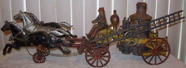 Dent Hardware Co Cast-Iron-Carriages Fire pumper wagon cast iron with 3 running galloping horses,