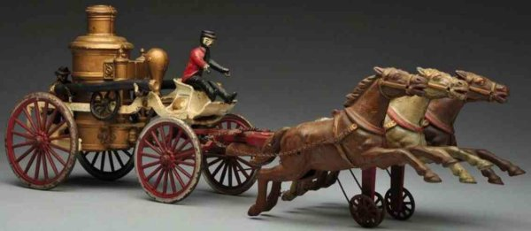 Dent Hardware Co Cast-Iron-Carriages Cast iron fire pumper horse-drawn toy, oversized 9 articula