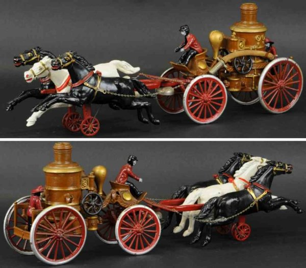 Dent Hardware Co Cast-Iron-Carriages Oversized fire engine made of cast iron, another heavily cas