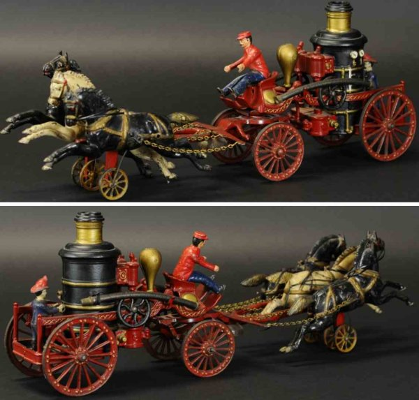 Dent Hardware Co Cast-Iron-Carriages Fire pumper, cast iron, features three horse team with ringi