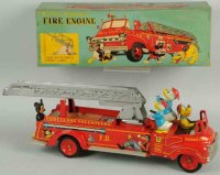 Linemar Tin-Fire-Truck Tin lithographed friction fire...