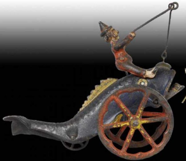 Bell Toy Cast-Iron Figures Fish and clown bell, large fish with upturned tail and a red