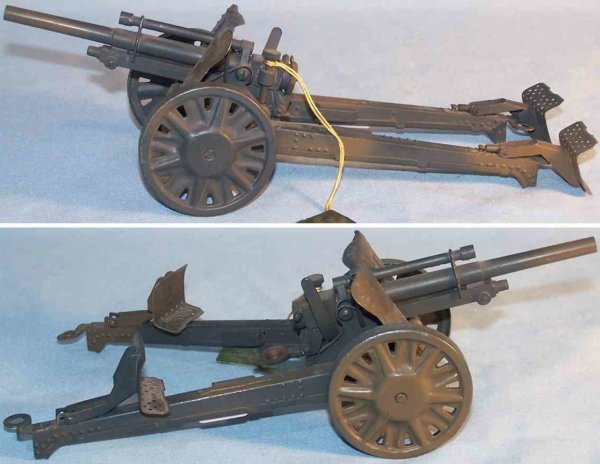 Lineol Military Toys-Arms Antiaircraft gun made of tin in gray and light brown