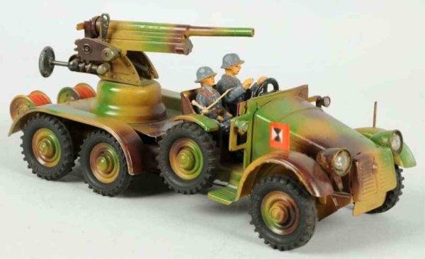 Hausser (Elastolin) Military-Vehicles Tinplate camouflage AA gun truck with two original Luftwaffe