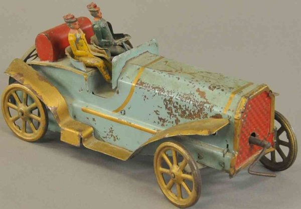 Dayton Friction Tin-Race-Cars Flying racer, pressed steel, blue body with two seated figur