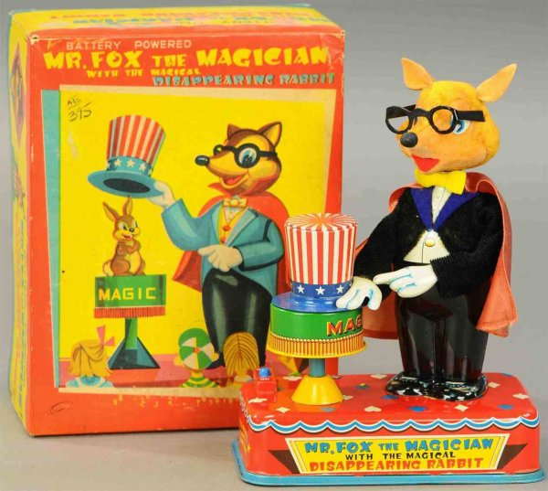 Yonezawa Tin-Automata Mr. Fox the magician battery automaton, in the pictures the