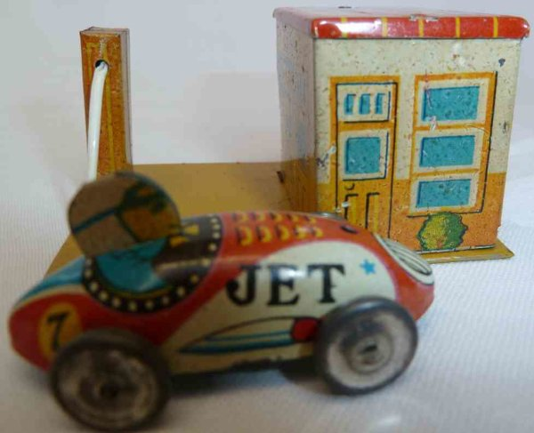 Yonezawa Tin-Penny Toy Small gas station and garage with race car, car reads JET
