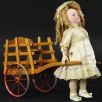Rouillet & Decamps Tin-Automata Girl pulling wood cart...