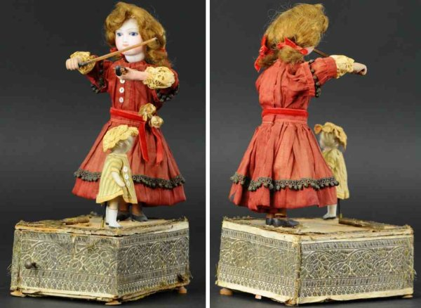 Renou Tin-Automata Young girl playing fiddle with tiny dancer, attributed to Fr