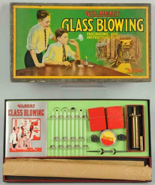 Gilbert Board-Games Scarce glass blowing set includes original box marked Copyr