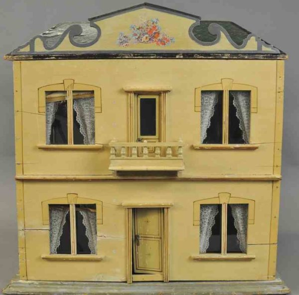 Hacker Christian Dollshouses -Accessories Creamy yellow painted dollhouse has four rooms with interc