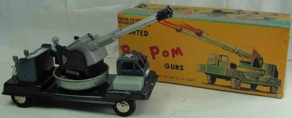 Linemar Military-Vehicles Air defense pom-pom gun made of tin with original box, the b