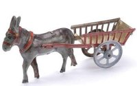 Meier Tin-Penny Toy Donkey with cart, donkey in grey with...