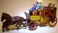 Orobr Tin-Carriages Horse wagon windup toy, doors with...
