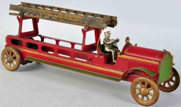 Converse Morton E. Tin-Fire-Truck Fire ladder truck made of pressed steel in red, driver is or