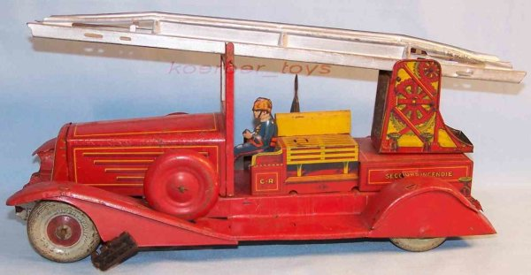Rossignol Tin-Fire-Truck Fire ladder car with clockwork, lithographed in a red way an