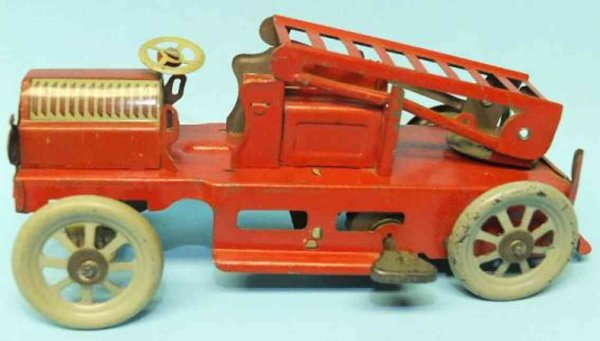 Orobr Tin-Fire-Truck Fire ladder truck mechanical tin wind-up toy, when wound, th