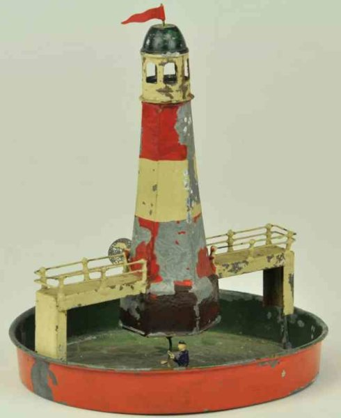 Falk Tin-Toys Lighthouse pond, hand painted overall, attributed to Falk, c