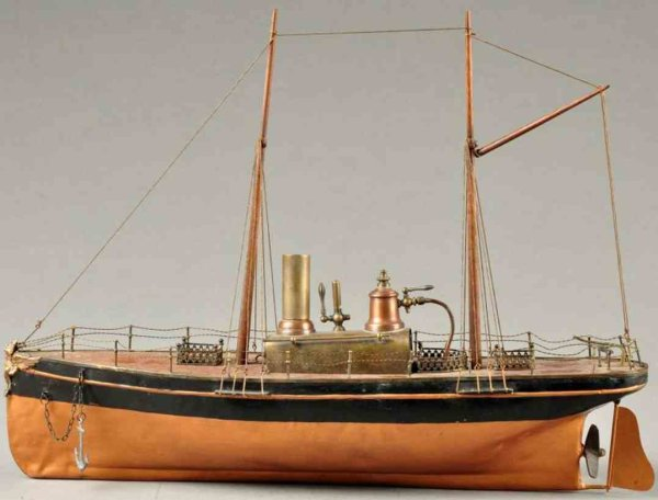 Radiguet & Massiot Tin-Ships Live steam boat, original steam plant, includes masts and or