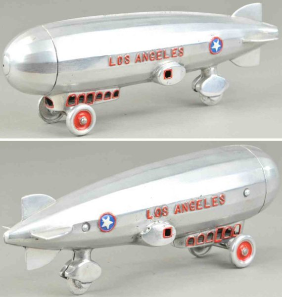 Dent Hardware Co Tine Ariplanes Los Angeles dirigble, made of polished aluminum, embossed le